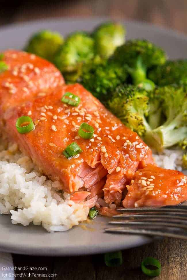 Sesame ginger salmon on a grey plate with rice and broccoli garnished with sesame and green onions, with a fork
