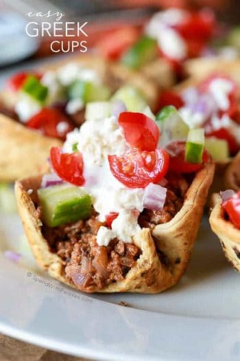 Greek Salad Cups topped with Greek salad