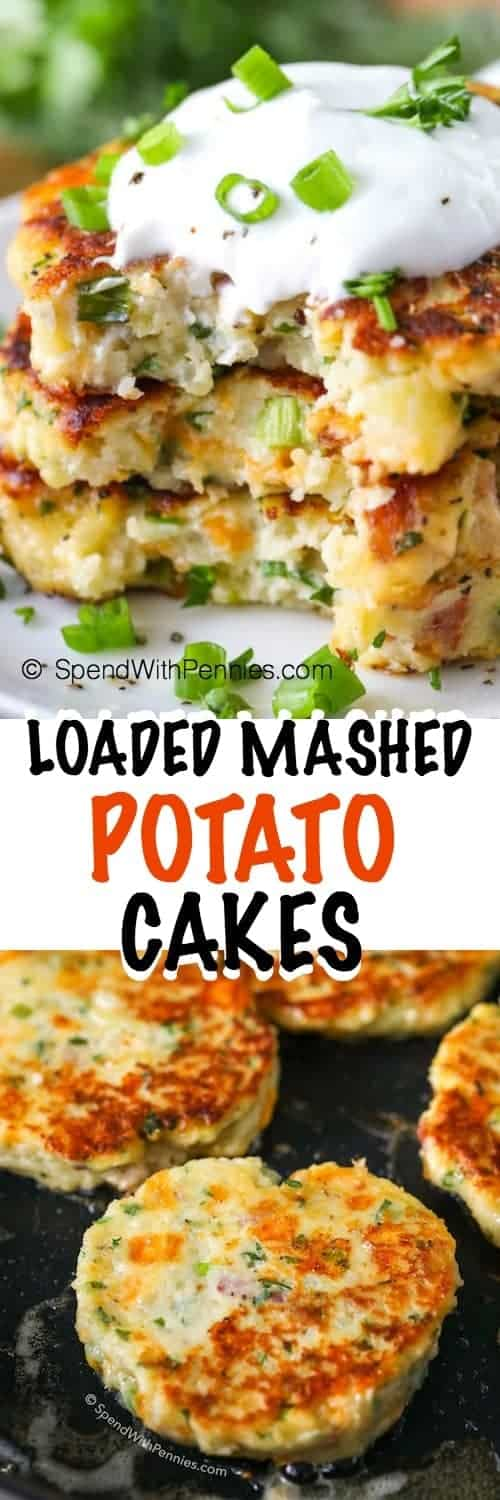 Loaded Mashed Potato Cakes with sour cream and in a pan shown with a title