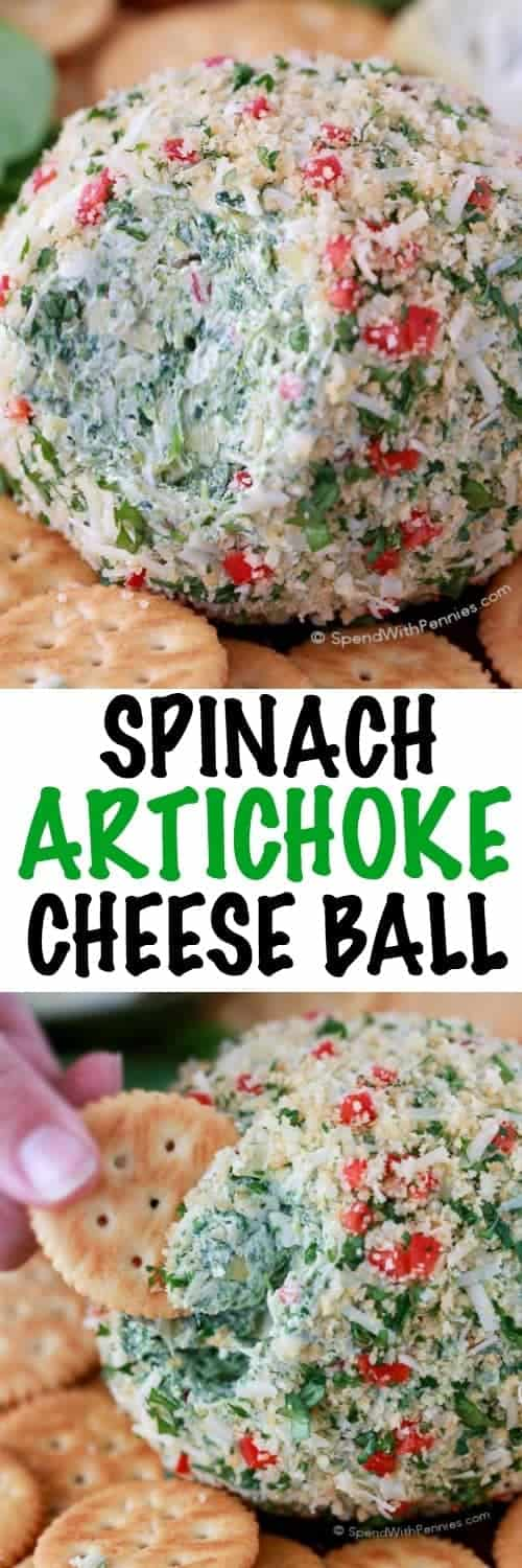 Spinach Artichoke Cheese Ball being eaten with a title