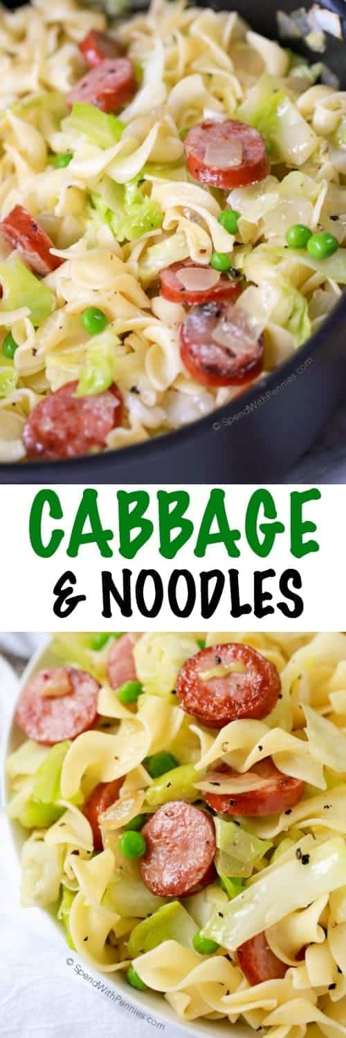 Cabbage and Noodles in a pan and a bowl with a title