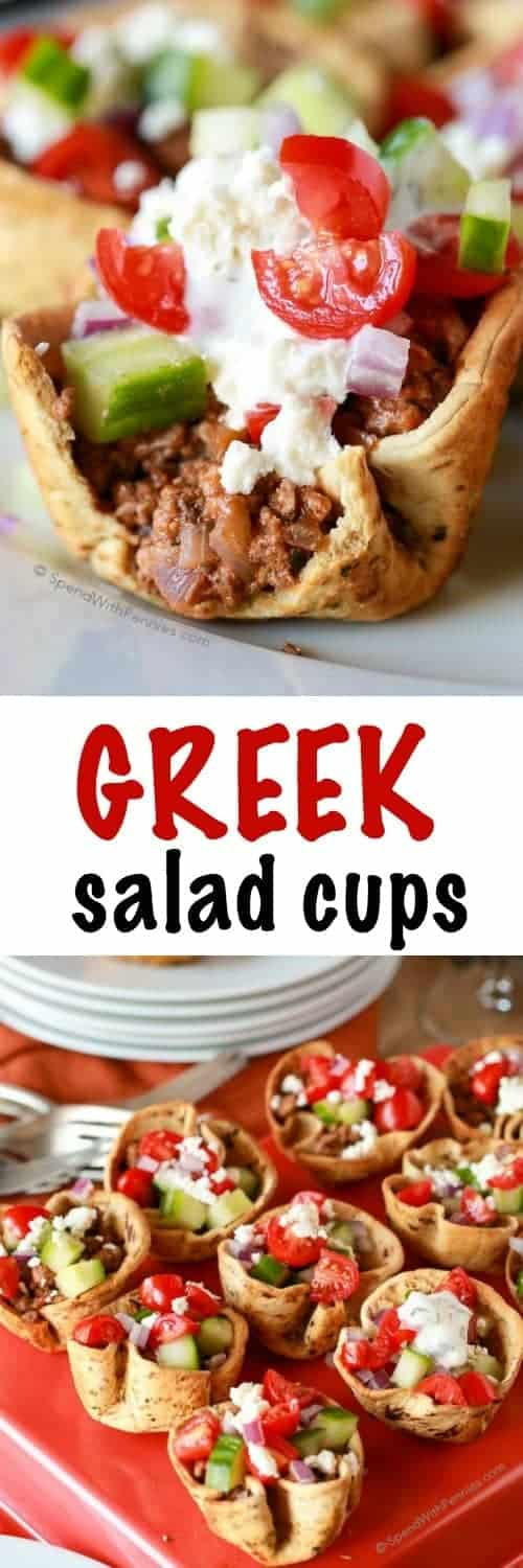 Greek Salad Cups filled with meat on a plate and platter shown with a title