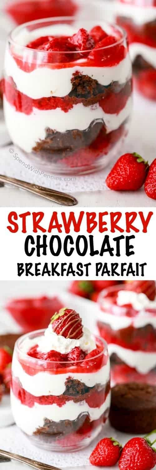 A homemade strawberry sauce layered over Greek yogurt and chocolate muffin bits make the perfect dessert or breakfast! These Skinny Breakfast Parfaits are loaded with strawberries and delicious chocolatey muffin pieces (and fruit, veggies and protein)!