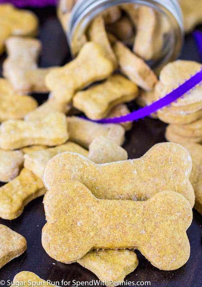 dog bone cookies stacked on a table