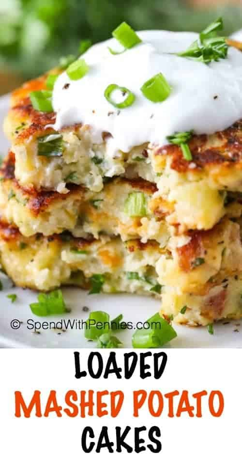 Loaded Mashed Potato Cakes with sour cream and green onions shown with a title