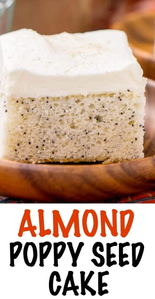 This Almond Poppy Seed Cake is made with simple, yet bold flavors - a dense almond cake loaded with poppy seeds and topped with a whipped vanilla frosting. A cozy and easy sheet cake that belongs on every dessert table.