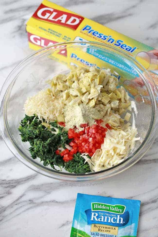 Spinach Artichoke Cheese Ball ingredients in a bowl