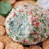 Spinach Artichoke Cheese Ball served with crackers