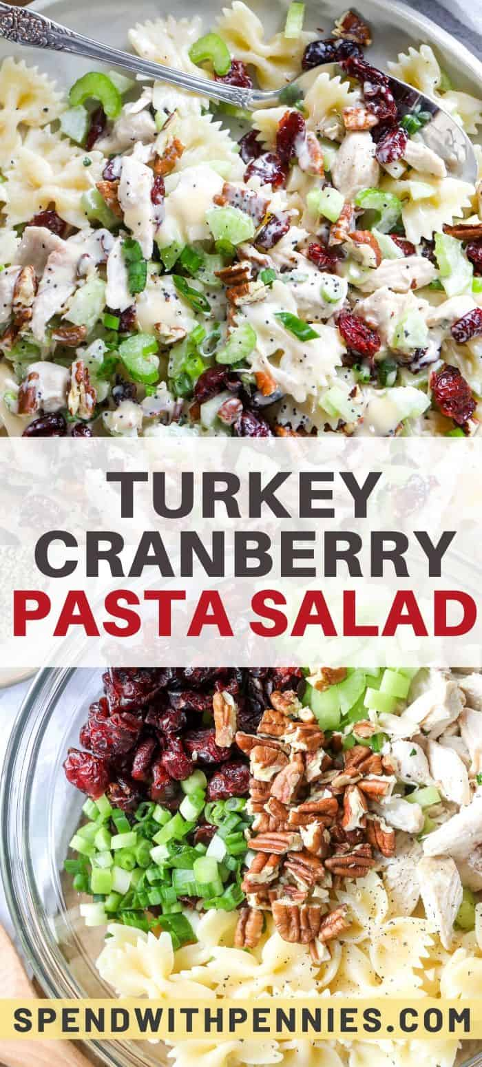 Turkey pasta salad ingredients in a clear bowl and turkey pasta salad in a bowl with a spoon and a title