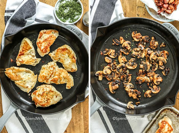 Overhead shots of sauteeing chicken and mushrooms in pans