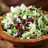 brussels sprout salad with cranberries with feta