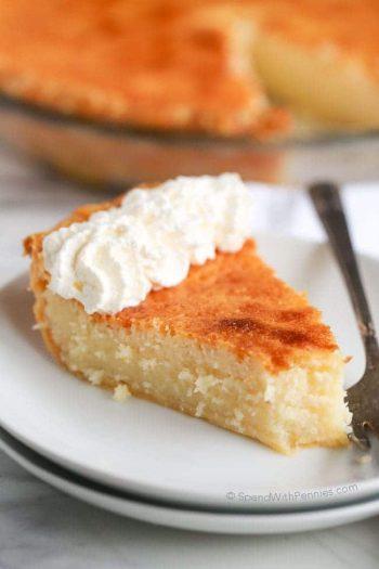 Buttermilk pie with a bite gone