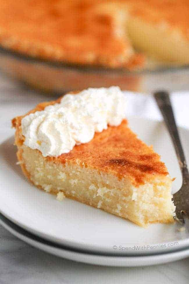 Buttermilk pie with a bite gone