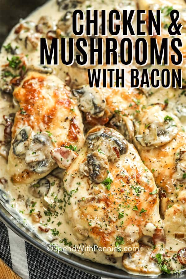 Closeup of Chicken and Mushrooms with Bacon in a pan with a title