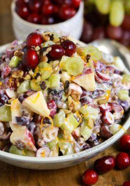 apple Waldorf salad with cranberries and yogurt for Waldorf salad dressing