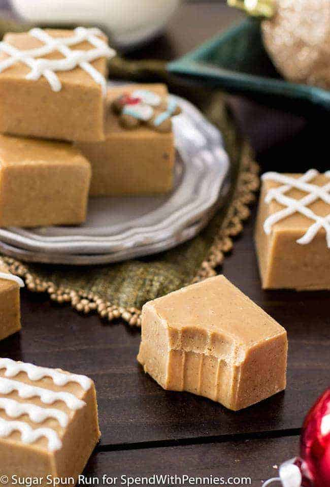 Easy Gingerbread Fudge! A seasonal gingerbread fudge with warm spices. This takes just minutes to make and doubles as a festive, edible Christmas gift.