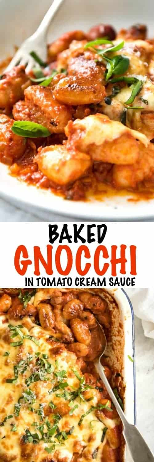 Soft pillowy bites of gnocchi coated in a silky tomato sauce. This baked gnocchi is total Comfort Food Made Easy. Wickedly delicious, outrageously easy, and a total crowd pleaser.