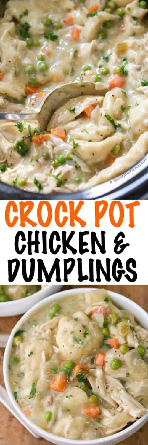 Crock Pot Chicken and Dumplings in a bowl and slow cooker with a title