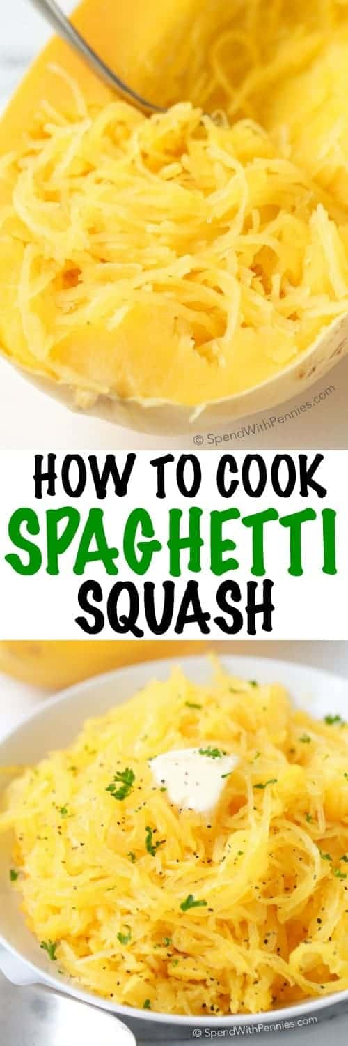 Spaghetti Squash is literally one of my favorite veggies year round. It is delicious, filling and it makes a great low carb substitute for pasta dishes or in soups! Just a little bit of butter or olive oil and salt & pepper turns it into a simple side. #spendwithpennies #spaghettisquash #microwavecooking #microwavesquash #easyrecipe #microwavespaghettisquash #sidedish #easysidedish