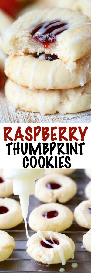 Raspberry thumbprint cookies with a title and being drizzled