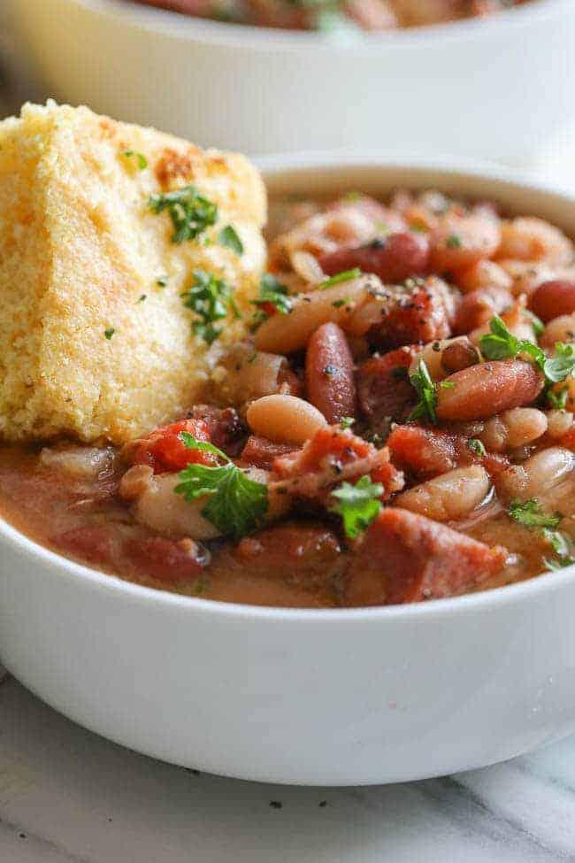 Crock Pot ham and bean soup in a bowl