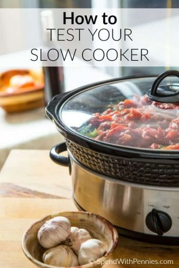 slow cooker with food in it