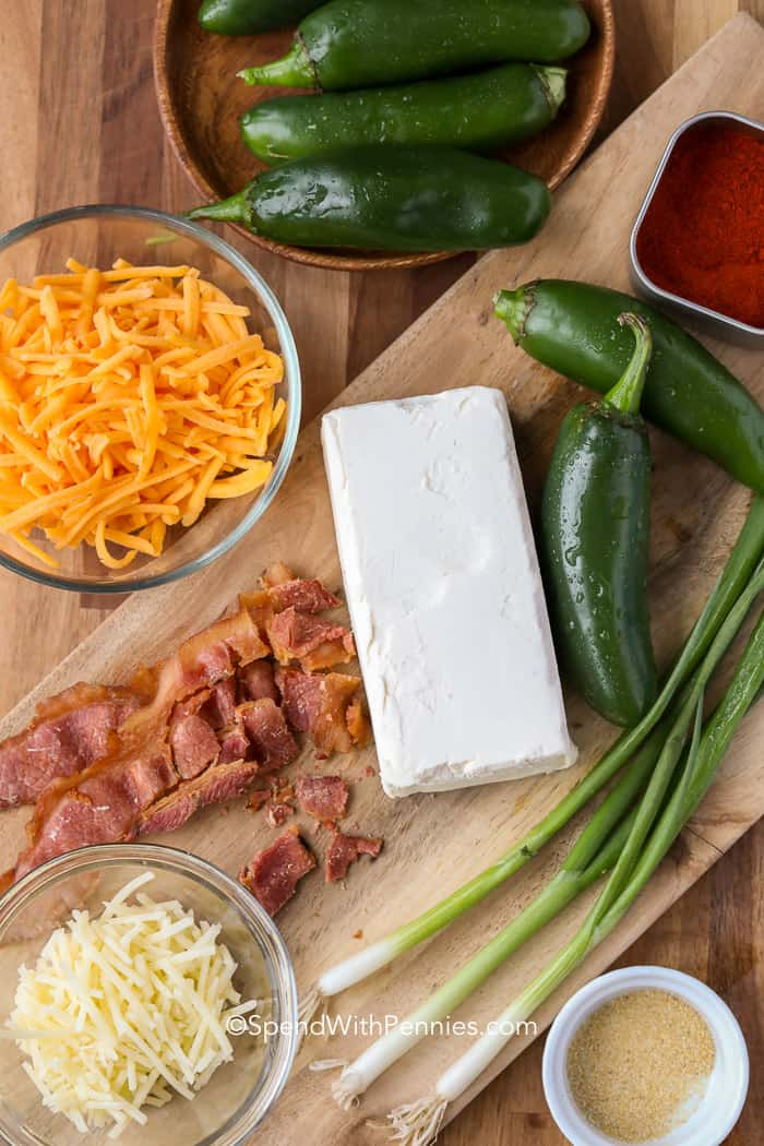 Ingredients to make a cheese ball recipe with bacon and jalapenos.