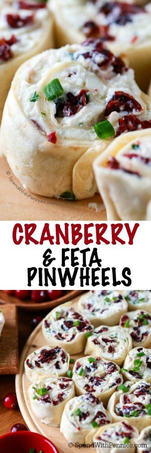 cranberry feta pinwheels collage, close up and overhead on a platter