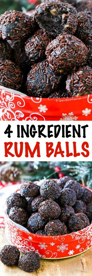 collage of rum balls in a red tin and a full view of the tin