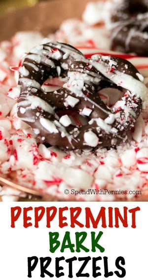 These peppermint bark pretzels are an easy, 4-ingredient holiday treat that double as a sweet edible gift! Take chocolate covered pretzels to the next level by drizzling with white chocolate and sprinkling with candy cane pieces!