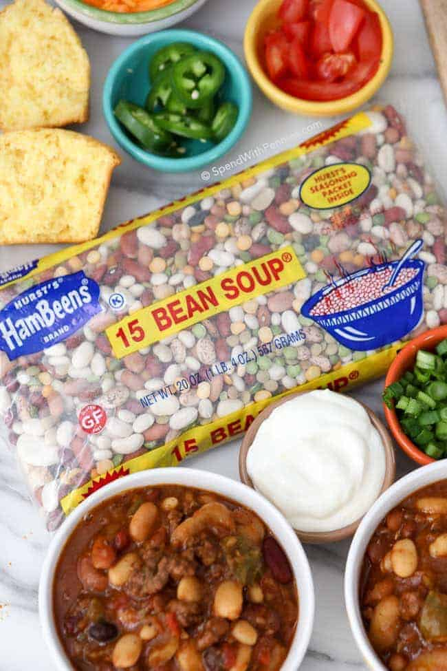 Hurst's 15 Bean Soup in bag and slow cooker bean chili in bowl