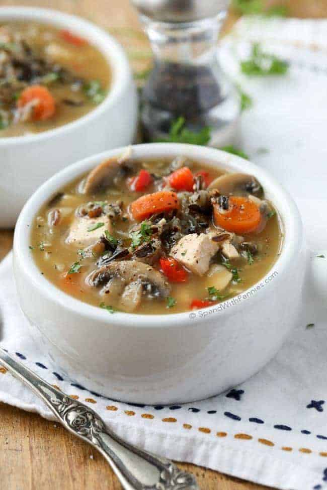 Chicken Wild Rice Soup (no cream) - Spend With Pennies