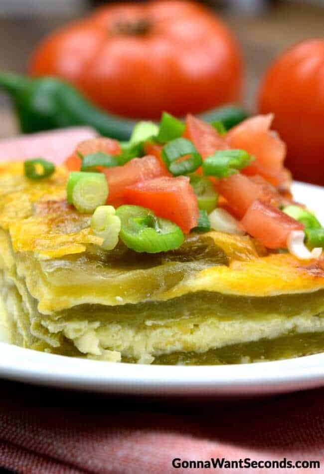 Chile Rellenos Casserole on a plate