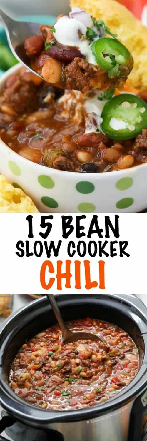 15 Bean Slow Cooker Chili is hearty and delicious, making it the perfect food to fuel the crowd on game day or a delicious easy weeknight meal! When serving a crowd, we put this chili on in the morning and then prepare a chili bar with toppings so our guests can help themselves! #spendwithpennies #slowcookerchili #gameday #easyrecipe #withtoppings #easychilirecipe #15BeanChili #crockpotchili