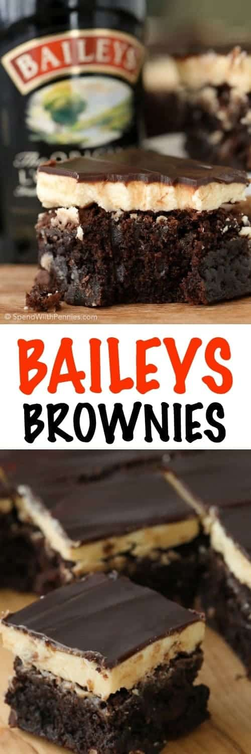 Baileys Brownies! Rich fudgy brownies with a fluffy buttery Baileys Irish Cream frosting and topped with a rich boozy Baileys chocolate ganache. These are definitely the best brownies we've ever had!