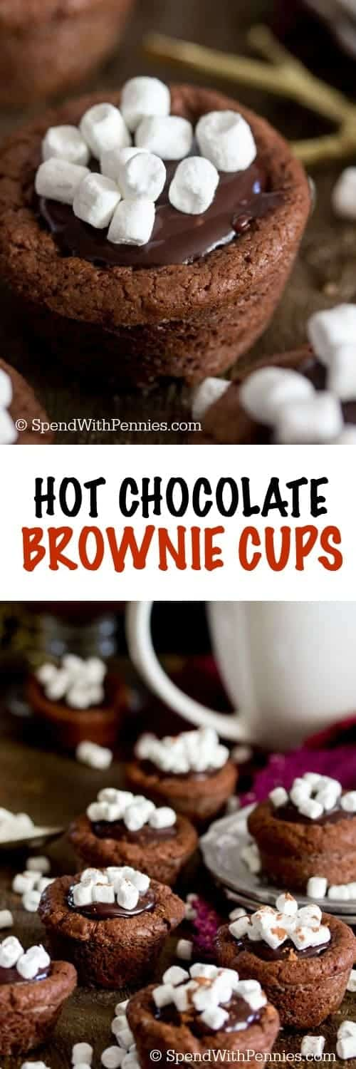 Hot Chocolate Brownie Cups -- fudgy, easy-to-make brownie cups filled with a rich chocolate ganache and topped with mini marshmallows.  These adorable brownie bites are reminiscent of sweet little cups of hot chocolate!