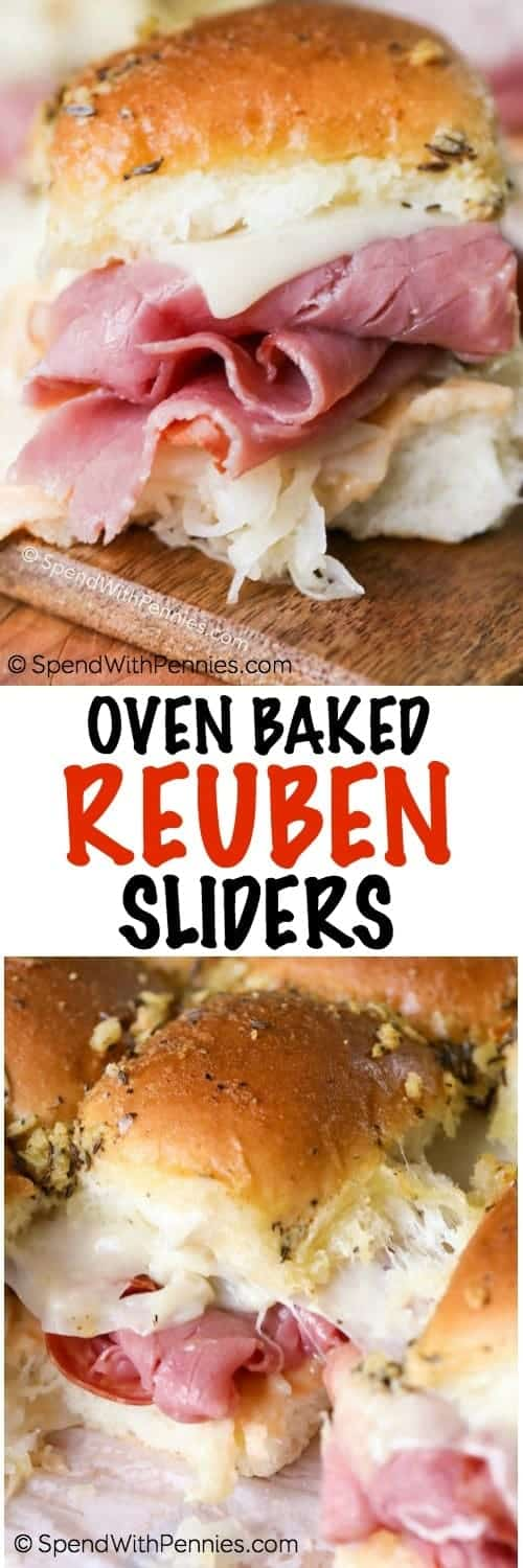 Oven Baked Reuben Sliders on a counter and in a pan shown with a title