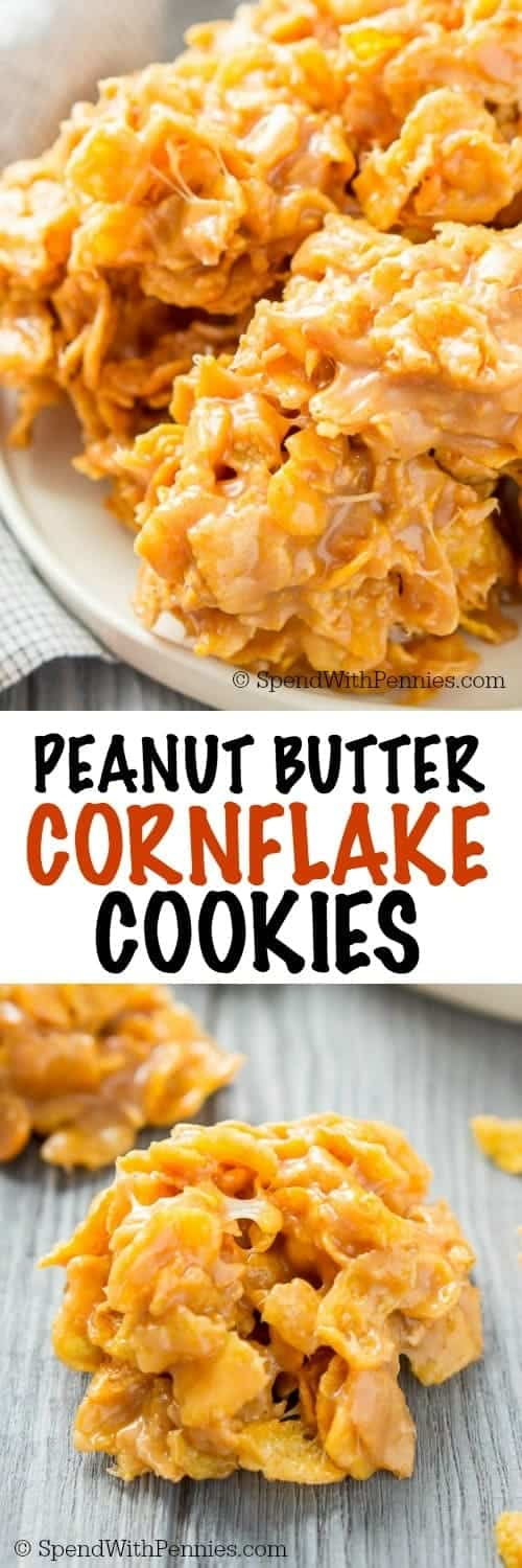 Peanut Butter Cornflake Cookies on a plate and on a table shown with a title
