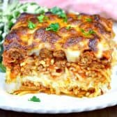 This incredilbe Million Dollar Spaghetti is an easy to make, family friendly casserole that has 2 layers of spaghetti, an ooey gooey cheese layer, all topped off with a rich sausage tomato sauce. We're talking Serious Deliciousness!