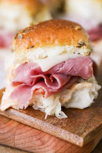 Oven Baked Reuben Sliders filled with corned beef and sauerkraut