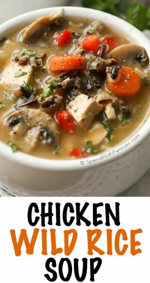 Chicken Wild Rice Soup with carrots and mushrooms