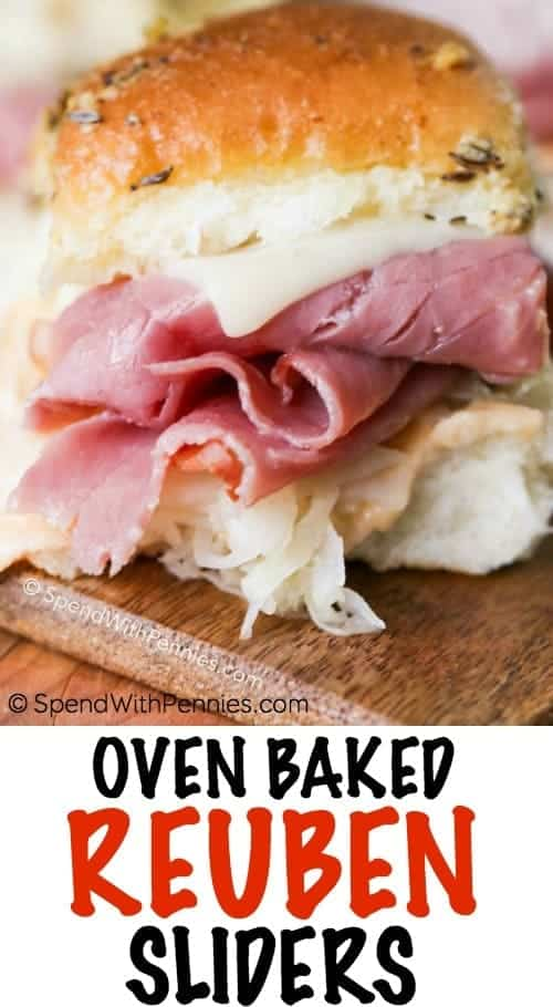 Oven Baked Reuben Sliders shown with a title