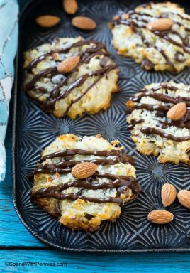 These 4 ingredient almond joy cookies taste just like the candy bar and take only minutes to make! Serve them at a party and watch them disappear!