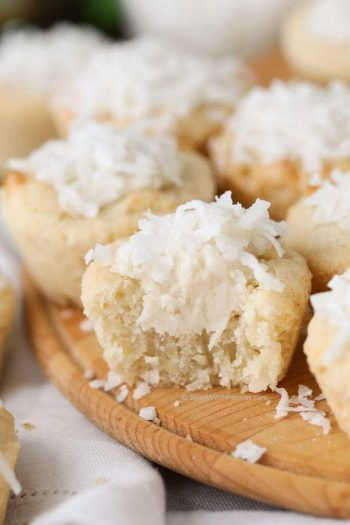 closeup of Coconut Sugar Cookie Cups with one cut open