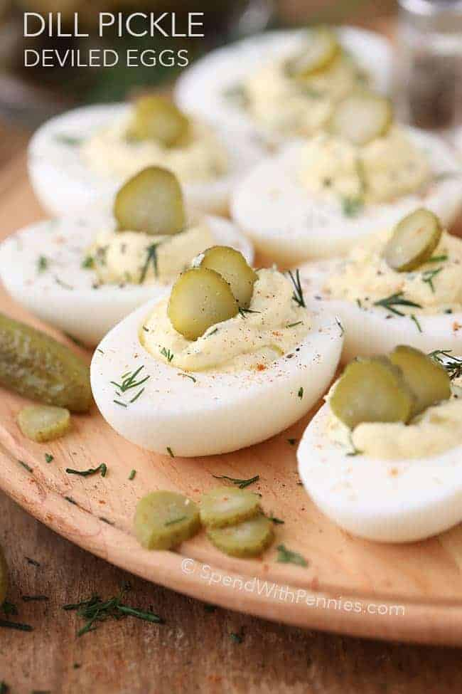 a tray of Dill Pickle Deviled Eggs