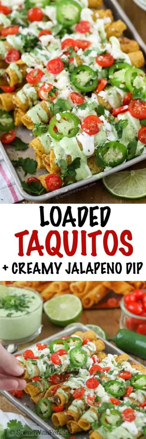 This delicious Creamy Jalapeno Dip recipe pairs perfectly with the authentic flavor of fully loaded taquitos! Whether it's game day or taco night, everyone is going to love this quick and easy appetizer with a delicious mild jalapeno dip!