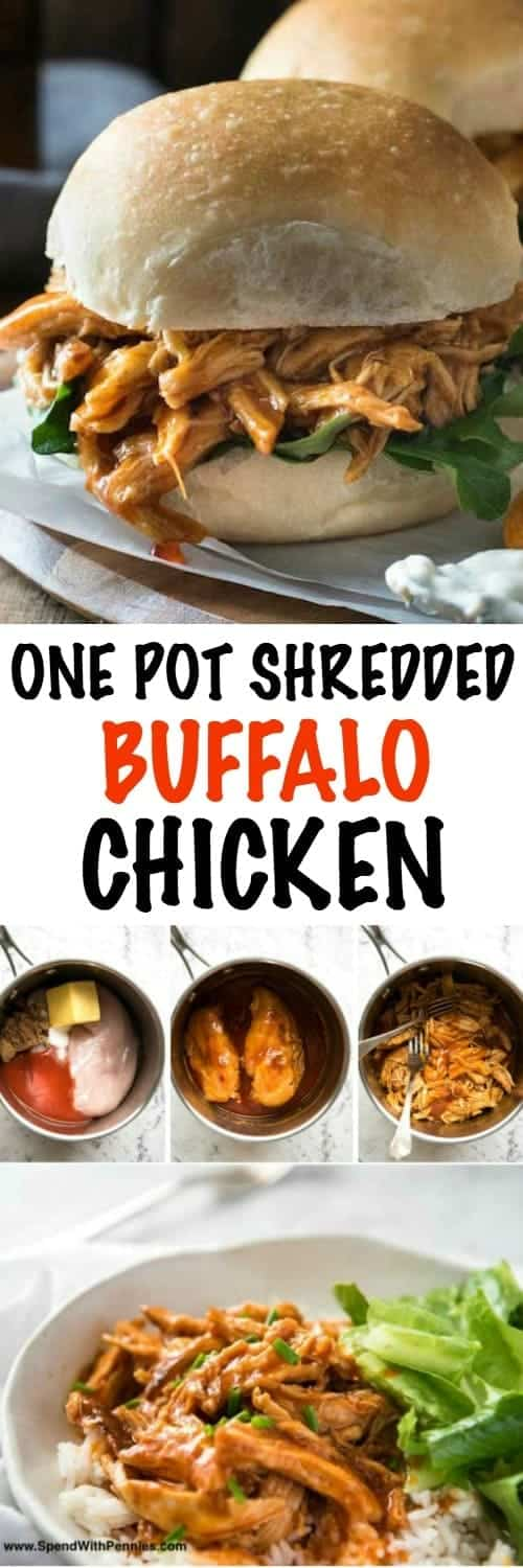 Dinner has never been easier than with this mouth watering One Pot Shredded Chicken in Buffalo Sauce! This tender and flavorful chicken recipe comes together in moments to create a meal your family will love! Quick, fabulous dinner made in one pot!