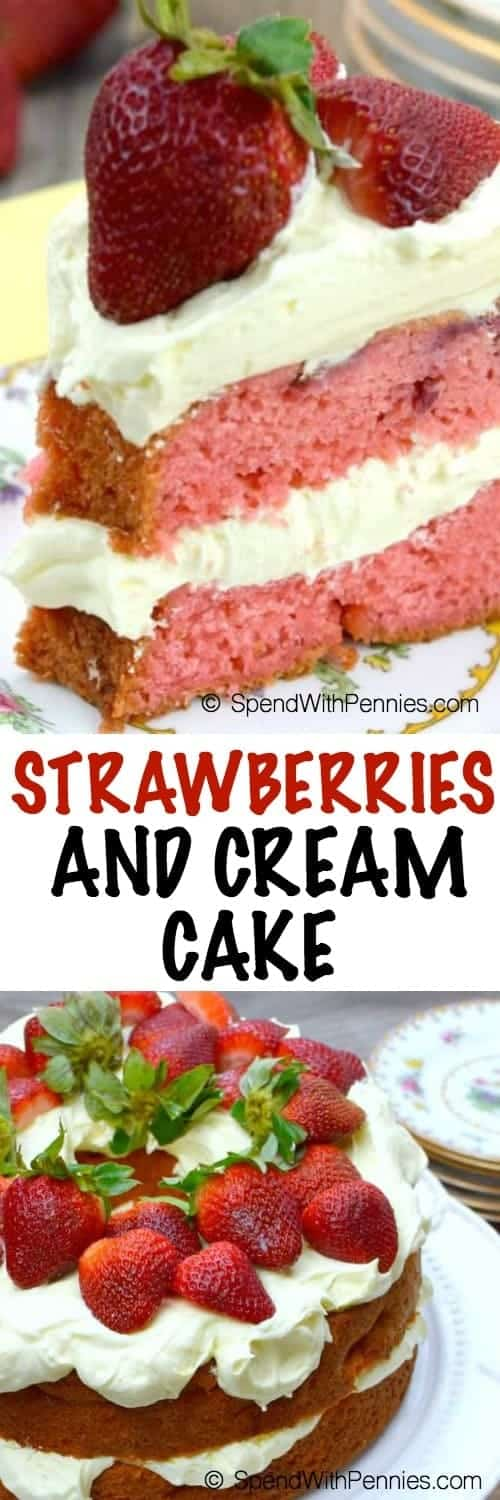 a slice of Strawberries and Cream Cake garnished with strawberries, a whole cake