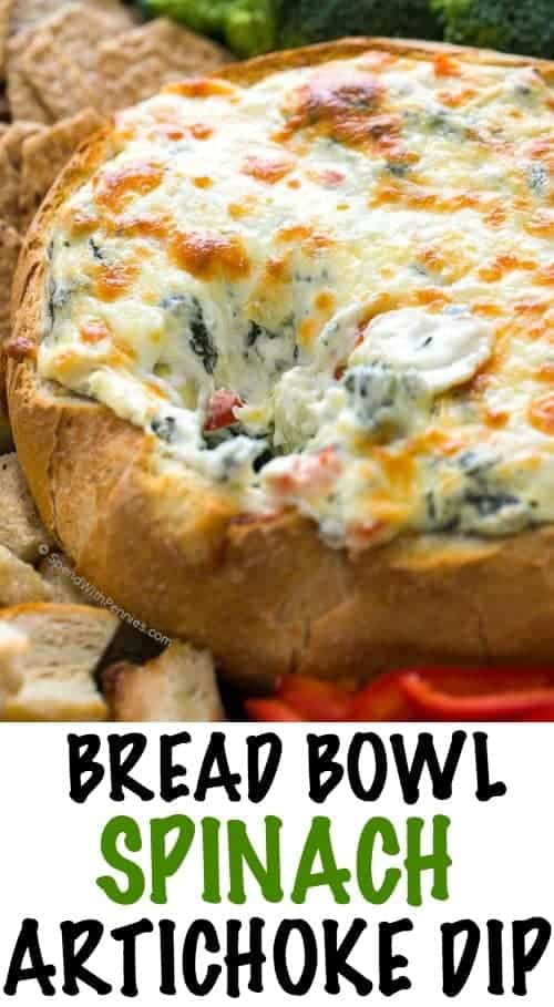 A rich and creamy Hot Spinach and Artichoke recipe dip is easy, delicious and totally cheesy! Once mixed, this dip is baked until warm and melty in a bread bowl and will be the hit of any game day party.