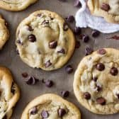 overhead of soft chewy chocolate chip cookies